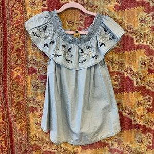 Love tree large blue embroidered blouse